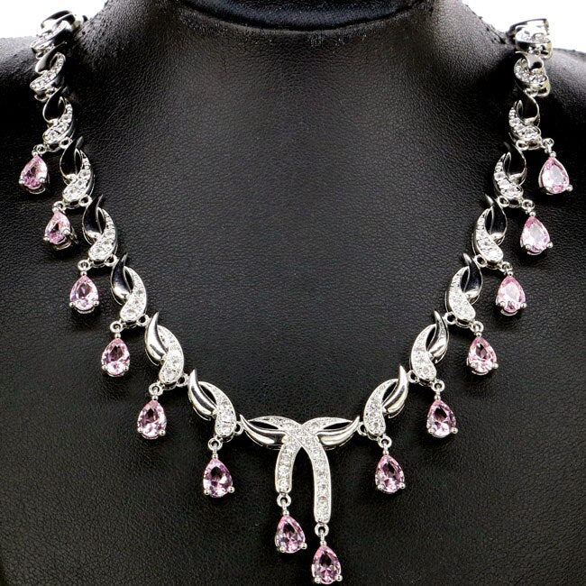 Pink Kunzite Silver Necklace