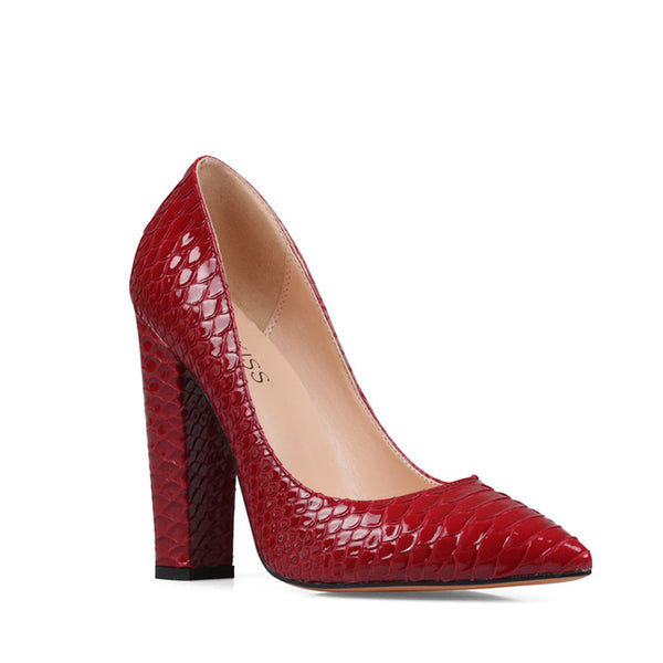 Embossed Ladies Pumps Pointed Toe