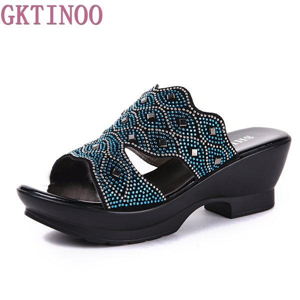 Square Heel Slip-on Sandals
