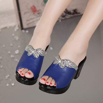 Women Genuine Leather Sandals Pumps