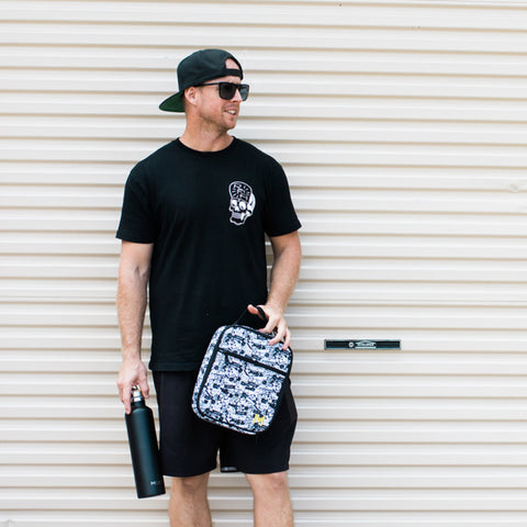 Geoff with Street MontiiCo Bag and Mega Black Drink Bottle