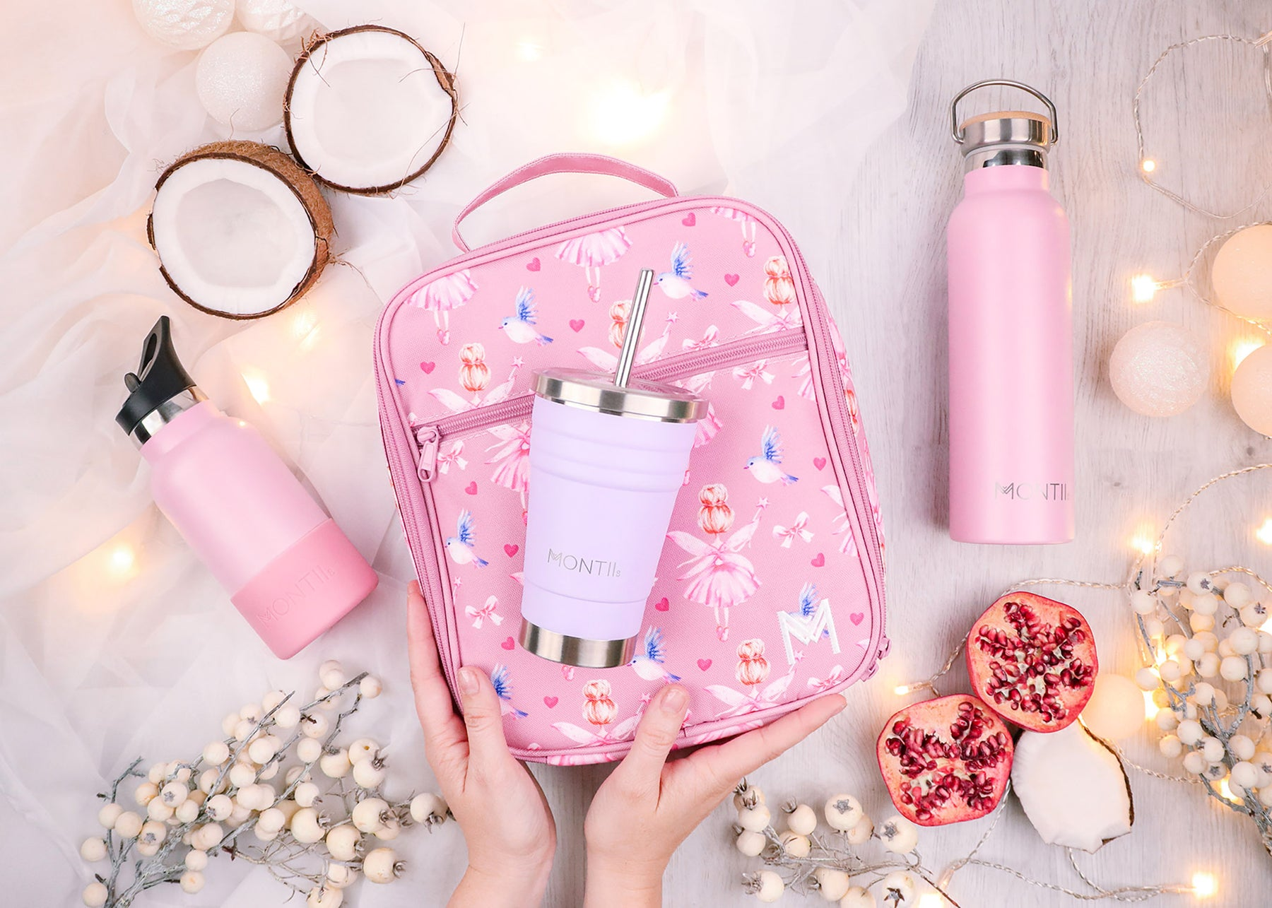 This is a Photo Of Montiico Products Mini Bottle Dusty Pink, Insulated Fairy Lunch Bag and Original Drink Bottle In Dusty Pink.