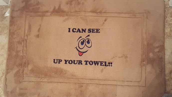 I can see up your towel custom bath mat