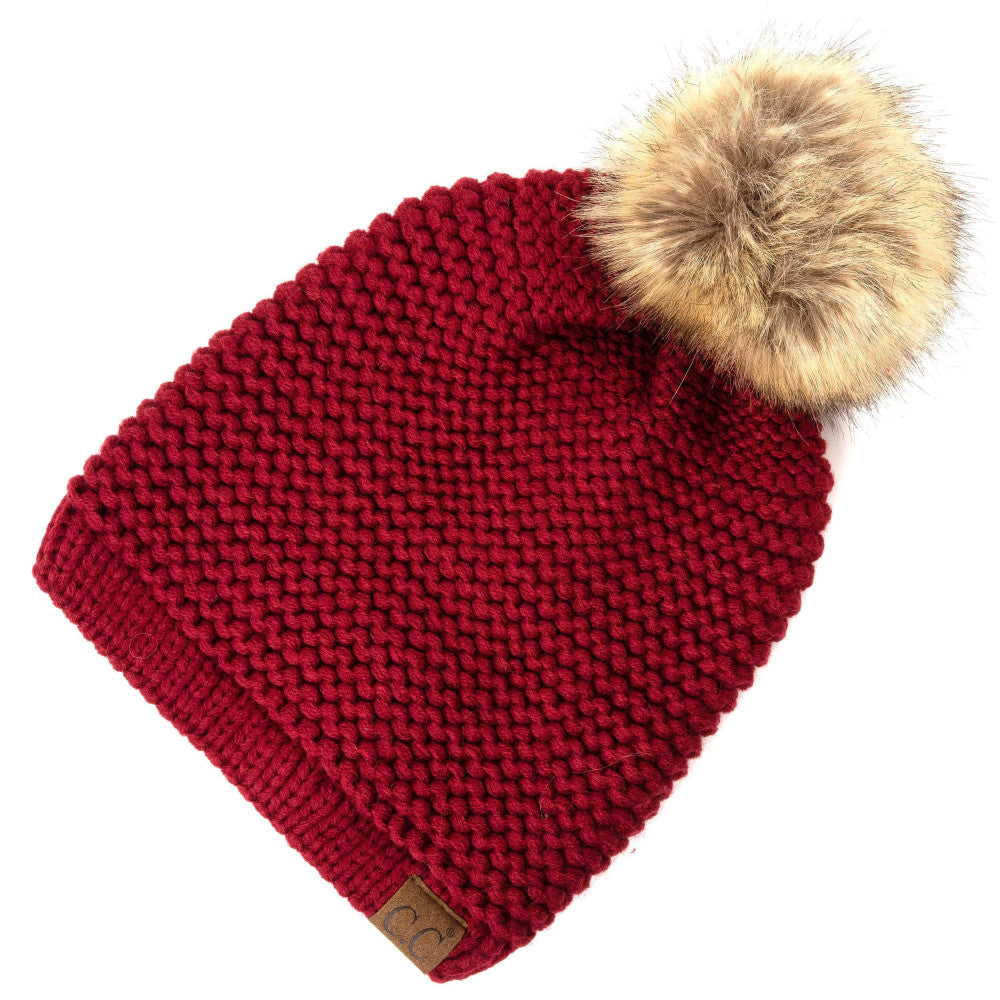 2cdb5cfd9536c C.C. Beanie with Adjustable Drawstring and Faux Fur Pom - Payton s Online  Boutique