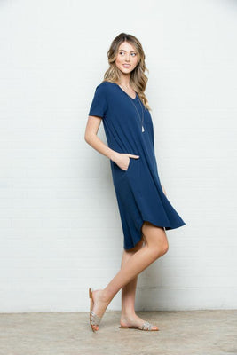 0e412cb7b9 Summer Breeze T-Shirt Dress-Navy Blue - Payton's Online Boutique