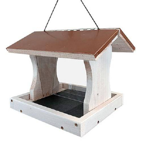 Audubon Nantucket White Copper Colored Roof Ranch Bird Feeder - BirdHousesAndBaths.com