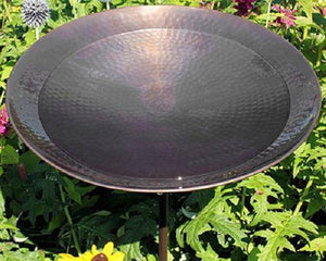 Burnt Copper Colored Metal Bird Bath and Stake by Achla Designs - BirdHousesAndBaths.com