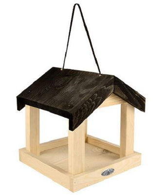 Wooden Fly Through Hanging Platform Feeder
