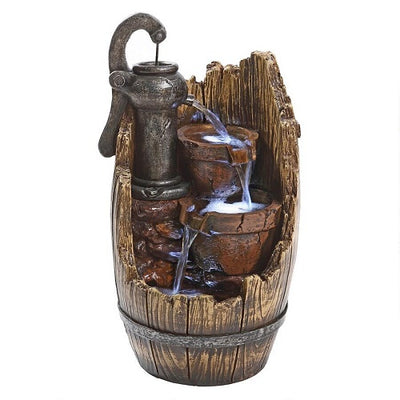 Farm Cistern Barrel Illuminated Garden Fountain - BirdHousesAndBaths.com