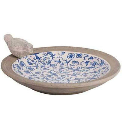 Blue and White Aged Ceramic Bird Bath
