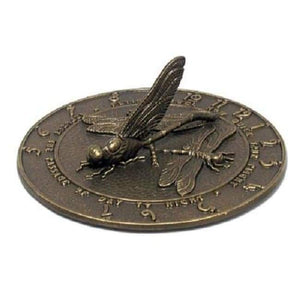 "Aluminum Dragonfly Sundial, French Bronze, 12"" diameter - BirdHousesAndBaths.com"