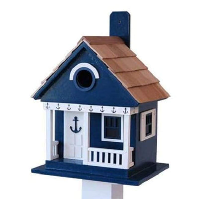 Anchor Cottage Navy Blue Bird House - BirdHousesAndBaths.com