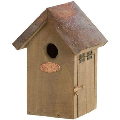 Antique Wash Wren House with Copper Colored Roof - BirdHousesAndBaths.com