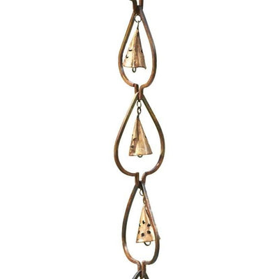 Aspen Leaf and Bell Rain Chain, Aged Copper - BirdHousesAndBaths.com