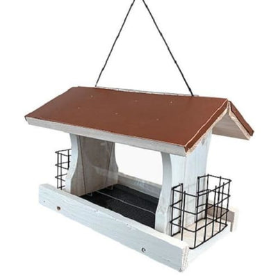 Audubon Nantucket White Coppertop Ranch Feeder with Suet Cages - BirdHousesAndBaths.com