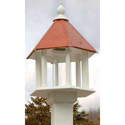Azalea Bird Feeder with Hammered Copper Colored Metal Roof - BirdHousesAndBaths.com