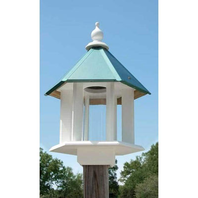 Azalea Bird Feeder with Verdigris Roof - BirdHousesAndBaths.com