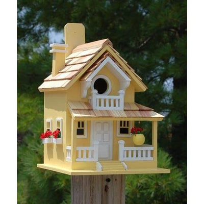 Backyard Cottage Yellow Bird House - BirdHousesAndBaths.com