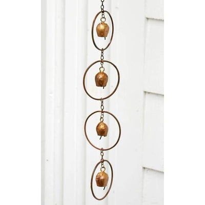 Bell Rain Chain, Copper - BirdHousesAndBaths.com