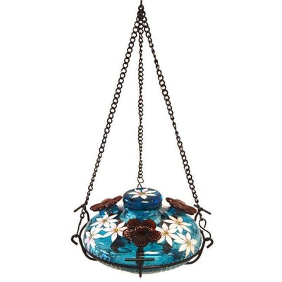 Bloom Botanica Hummingbird Feeder with Perch, Aqua - BirdHousesAndBaths.com