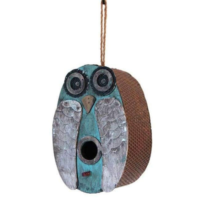 Blue Owl Bird House - BirdHousesAndBaths.com
