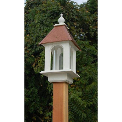 Camellia Bird Feeder with Hammered Copper Colored Metal Roof - BirdHousesAndBaths.com