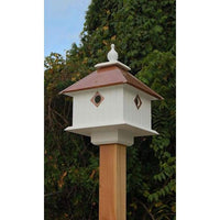 Carriage Bird House with Hammered Copper Colored Metal Roof - BirdHousesAndBaths.com