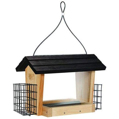 Cedar Hopper Bird Feeder with Suet Cages, Large - BirdHousesAndBaths.com