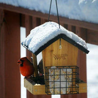 Cedar Hopper Bird Feeder with Suet Cages, Small - BirdHousesAndBaths.com