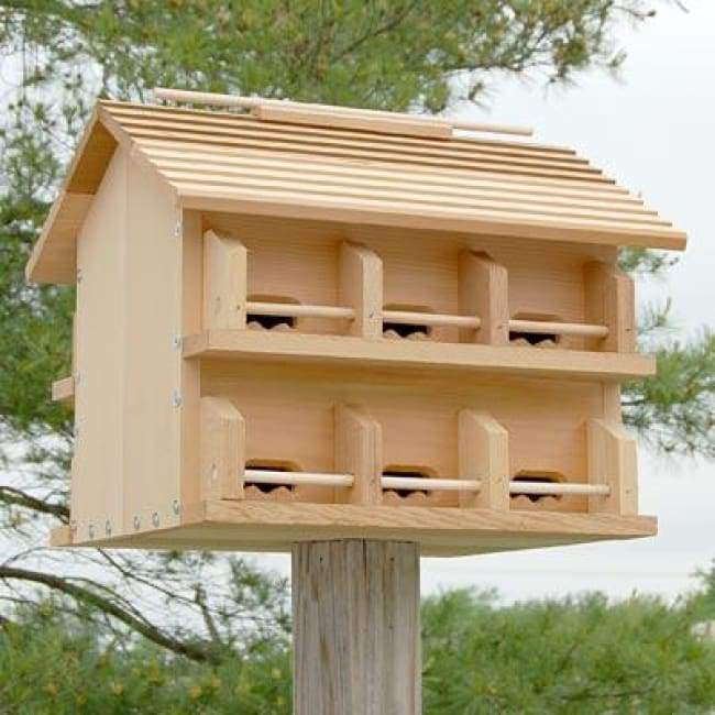 Cedar Purple Martin House w/ Crescent Entrance Holes - BirdHousesAndBaths.com