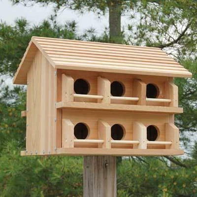 Cedar Purple Martin House w/ Round Entrance Holes - BirdHousesAndBaths.com