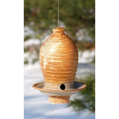 Ceramic Butternut Medium Bird Feeder - BirdHousesAndBaths.com