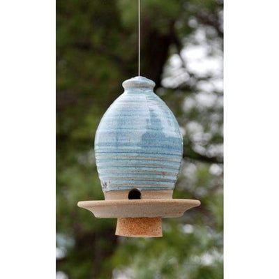 Ceramic French Blue Medium Bird Feeder - BirdHousesAndBaths.com
