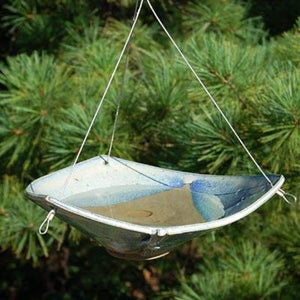 Ceramic French Blue Small Bird Bath - BirdHousesAndBaths.com