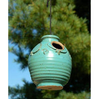 Ceramic Teal Small Bird House - BirdHousesAndBaths.com