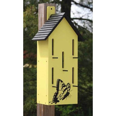 Classic Butterfly House with Perches, Yellow - BirdHousesAndBaths.com