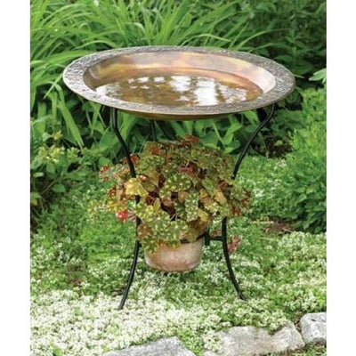 Copper Colored Steel Bird Bath and Stand - BirdHousesAndBaths.com