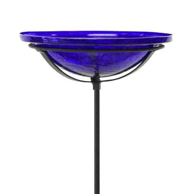 Crackle Glass Bird Bath Bowl with Cradle and Stake, Cobalt - BirdHousesAndBaths.com