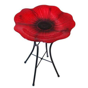 Decorative Glass Poppy Bird Bath and Stand - BirdHousesAndBaths.com