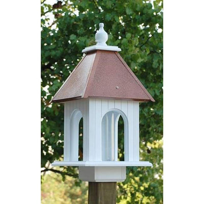 Dogwood Bird Feeder with Hammered Copper Colored Metal Roof - BirdHousesAndBaths.com