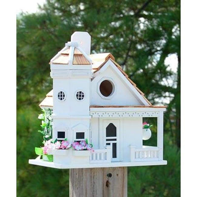Flower Pot Cottage White Bird House - BirdHousesAndBaths.com