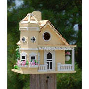 Flower Pot Cottage Yellow Bird House - BirdHousesAndBaths.com
