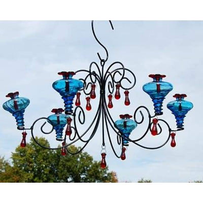Grand Mini-Blossom Chandelier Aqua Hummingbird Feeder - BirdHousesAndBaths.com