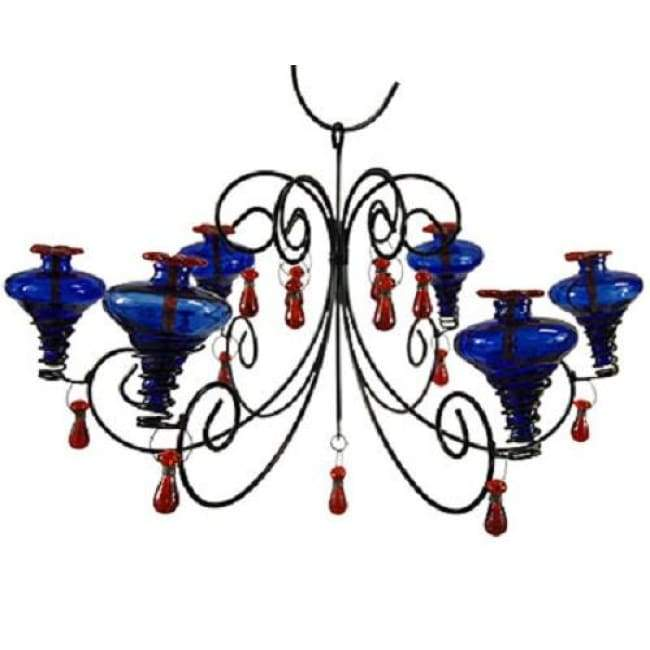 Grand Mini-Blossom Chandelier Blue Hummingbird Feeder - BirdHousesAndBaths.com