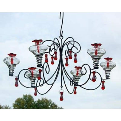 Grand Mini-Blossom Chandelier Clear Hummingbird Feeder - BirdHousesAndBaths.com
