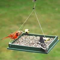 Hanging Platform Green Bird Feeder, Large - BirdHousesAndBaths.com