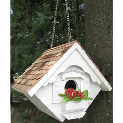 Little Hanging White Wren House - BirdHousesAndBaths.com