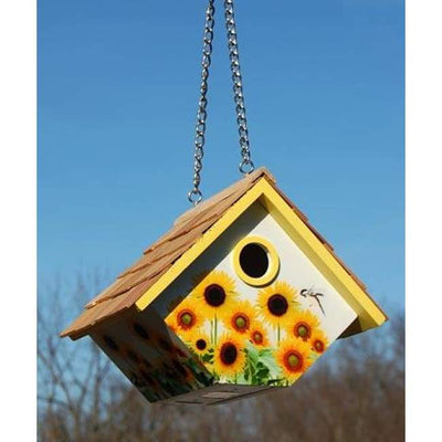 Hanging Wren House with Sunflowers - BirdHousesAndBaths.com