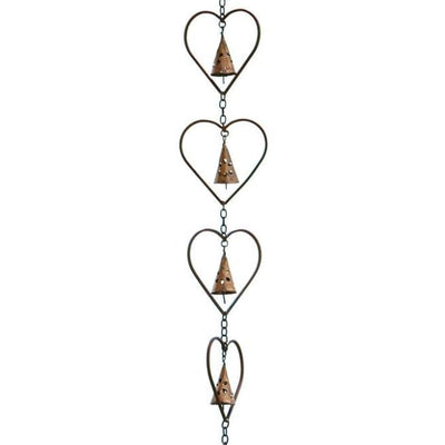 Heart and Bell Rain Chain, Flamed Copper - BirdHousesAndBaths.com
