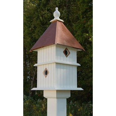 Holly Bird House with Hammered Copper Colored Metal Roof - BirdHousesAndBaths.com
